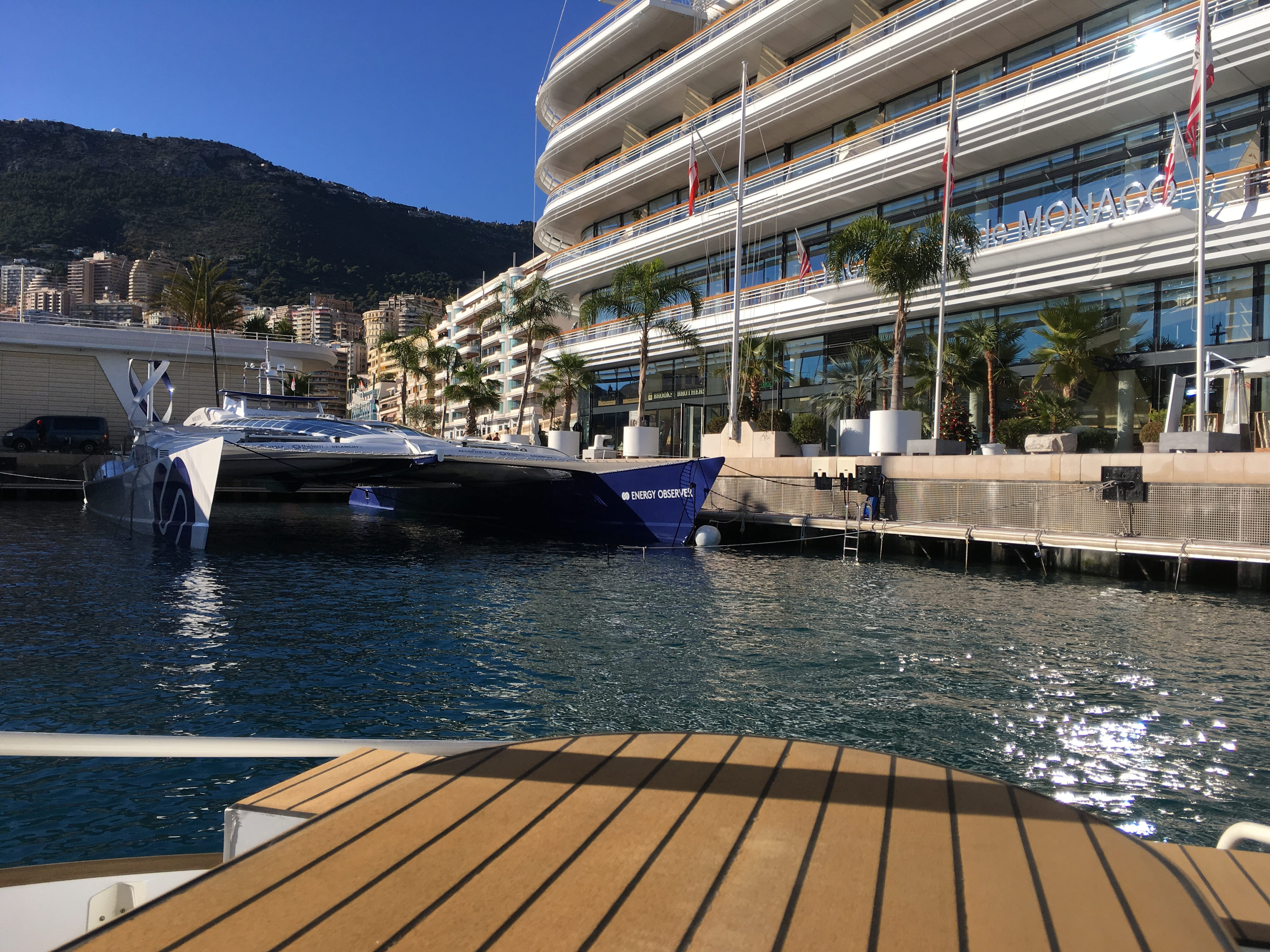 Energy Observe in front of the Monaco Yacht Club